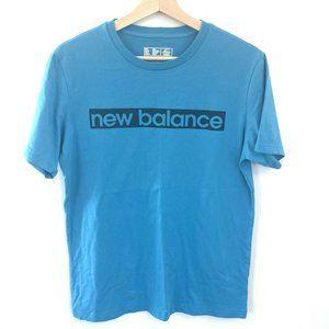 Mens New Balance T Shirt Top Blue Size Large VGC Sports Casual Cotton Logo.